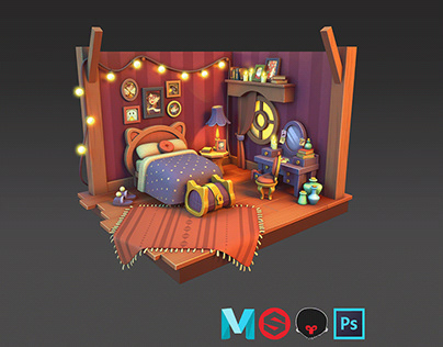 Magic room made in Maya and Substance Painter