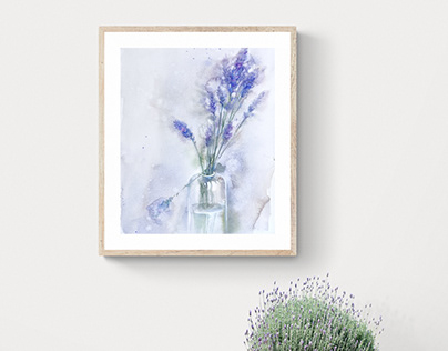 Lavender in watercolor