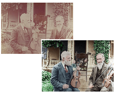 Violin players - restoration and colorisation