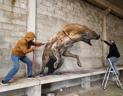 3D Wall Art Mural Painting Hyena