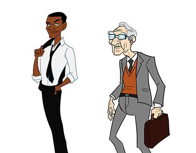 Character designs: Suave Entrepreneur & Elderly Man.