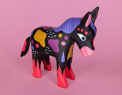 Hand-Painted Donkey