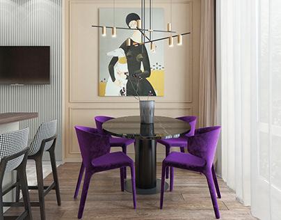 Bright kitchen with purple accent