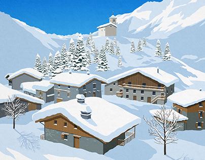 La Rosiere ski resort poster