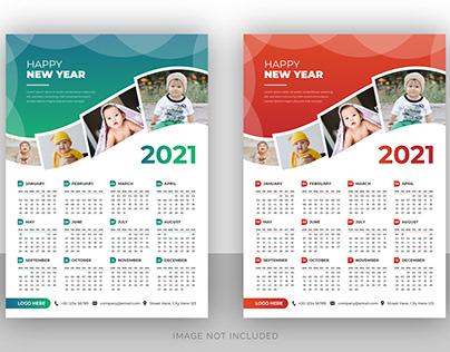 Creative photography wall calendar design template 2021