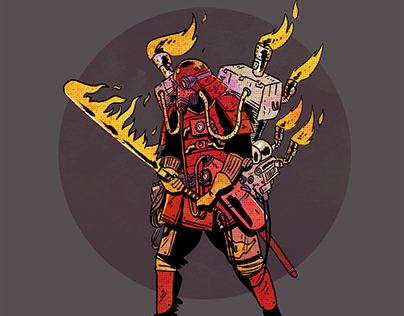 Dieselpunk samurai illustration