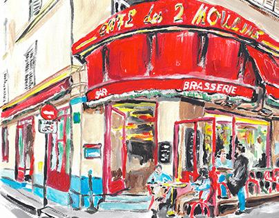 A C R Y L I C / Cafe des 2 Moulin Paris
