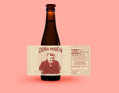 Diseño de etiqueta Doña Pasión, cerveza KUF KUF.