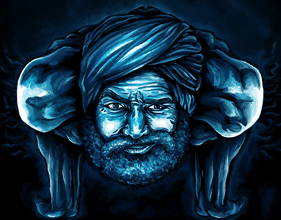 The old wise Indian man - customized painting