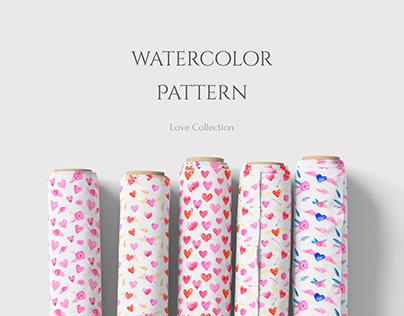 Watercolor Love Pattern
