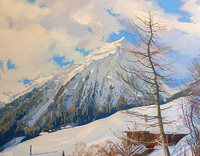 Swiss Alps paintings