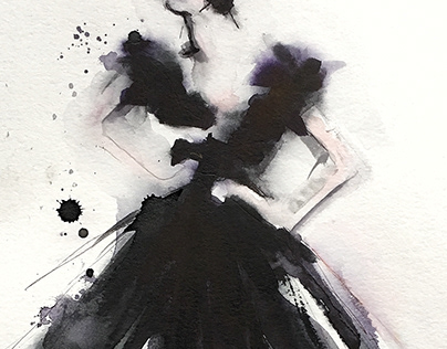 Aquarelle painting | The Big Black Dress | 04.2019