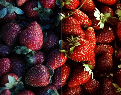Fotografía y retoque de frutas y vegetales.