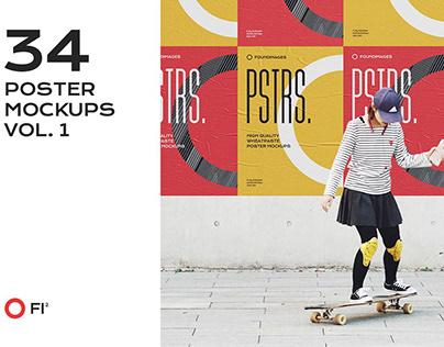34 poster mockup bundle