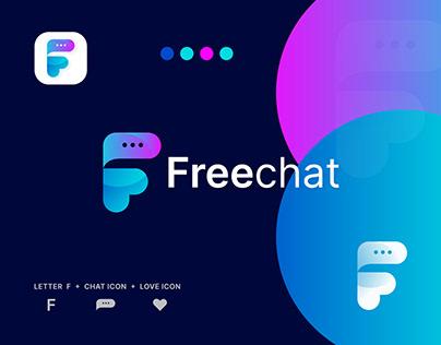 Freechat Logo, Modern F Logo Design.