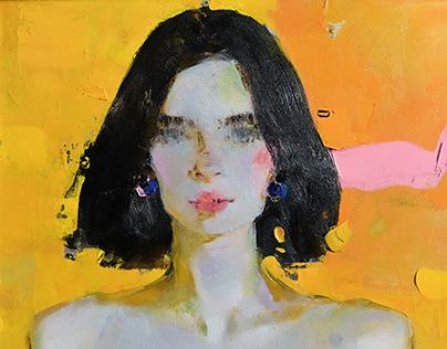 Woman portrait on yellow.