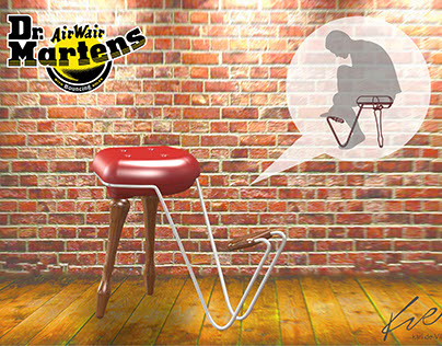 Dr Martens retail shoe fitting stool