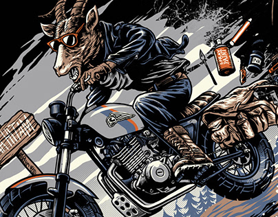 Tshirt design for Pena Hitam, 'Goat Rider'