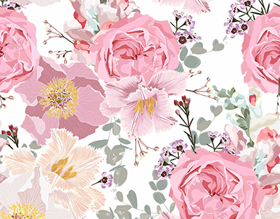 Pink flowers loral seamless pattern.