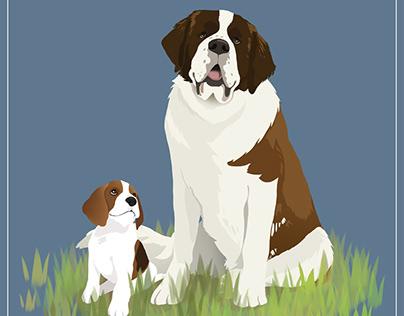 St. Bernard & Beagle