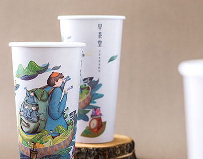 早茶堂|杯面視覺設計Zao Cha Tang paper cup visual design