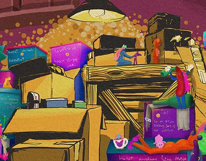 Kolilerde Bir Ömür - Lifetime in Boxes Illustration