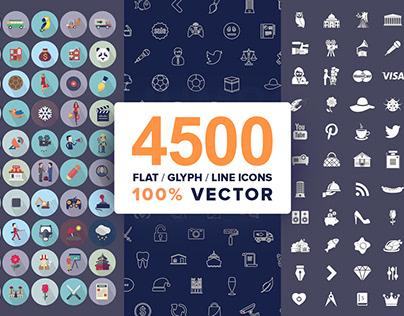 Flat, Glyph & Line Vector Icons