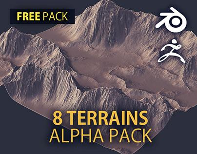 FREE - 8 Terrain Alpha Textures   Height   4k, 16bit