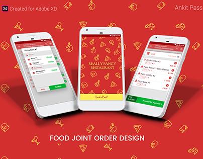Food Join Order Design: Adobe XD