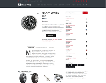 Shop Product Page - Mechanic WordPress Theme