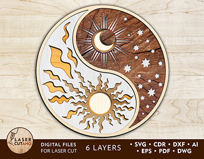 Laser Cut Ornaments - YIN YANG - Laser Cut Template