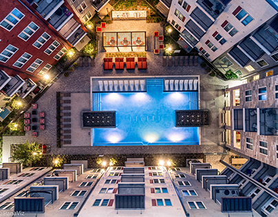 Birds Eye View of Pools within Apartments.