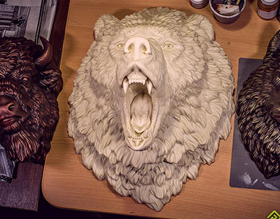 Angry Bear head sculpture wall decor