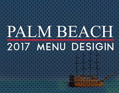 Palm Beach 2017 Restaurant Menu Design Free Mock-Up