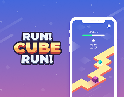 Run!CubeRun! Hypercasual mobile game UI