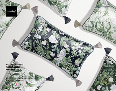 Velvet Cushion with Tassels Mockup Set