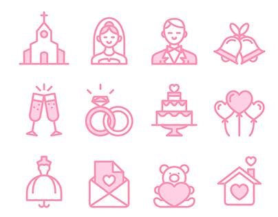 Love & Wedding icon set