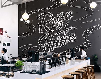 Rise + Shine | Cafe Mural Lettering & Illustration
