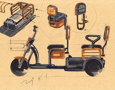 Electric Tricycle Sketch Design