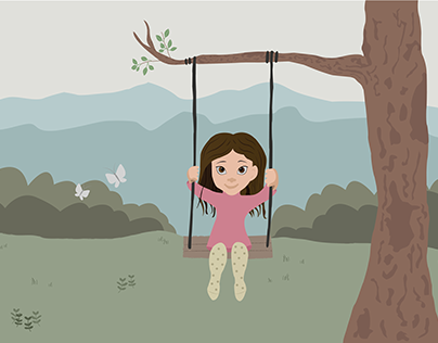 Kids illustration for a wall mural