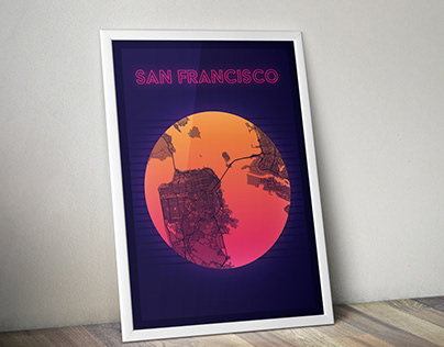 Map of San Francisco 80's style