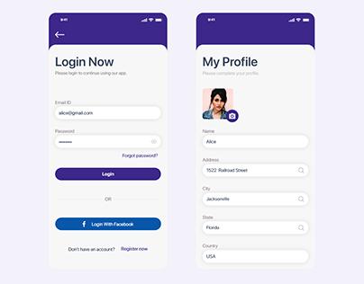 Login & Profile Screen App Design