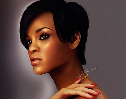 Rihanna Realistic Digital Portrait