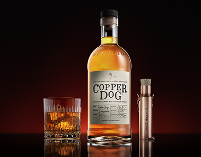 3D COPPER DOG - WHISKEY BOTTLE - ADVERTISING IMAGERY