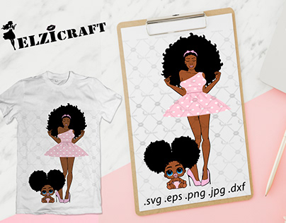 Afro Woman, Mommy and baby, Mother and daughter SVG