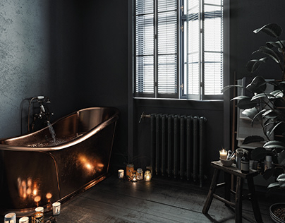 Dark Retro Bathroom