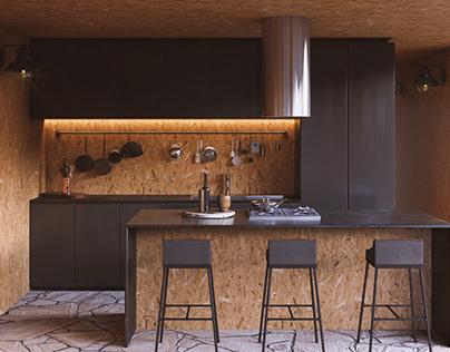 CGI - Chapada Cabin - Living Room and Kitchen