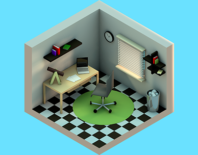 low poly room