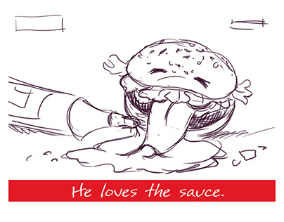 Sketches and design options for sauces manufacturer.