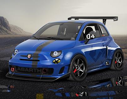 Blue Fiat 500 Abarth